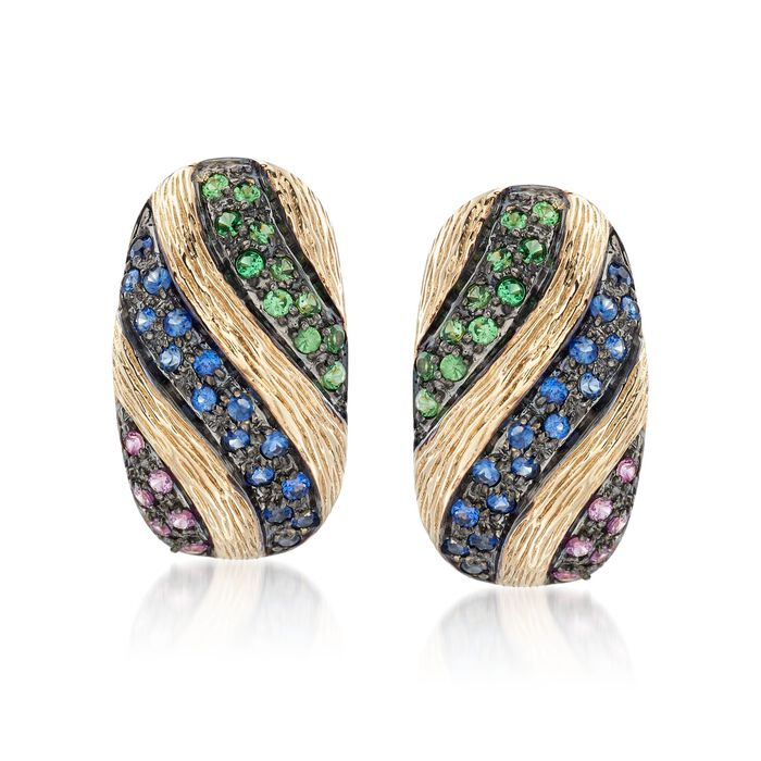 .40 ct. t.w. Multicolored Sapphire and .20 ct. t.w. Tsavorite Earrings in 14kt Yellow Gold, , default