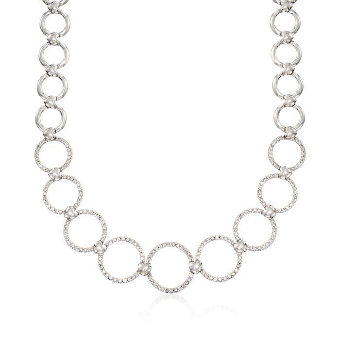 """C. 1990 Vintage 3.17 ct. t.w. Diamond Open Circle-Link Necklace in 18kt White Gold. 16"""", , default"""