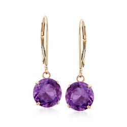3.20 ct. t.w. Amethyst Drop Earrings in 14kt Yellow Gold, , default