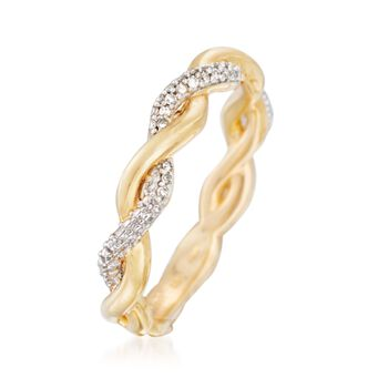 .10 ct. t.w. Diamond Twist Ring in 18kt Yellow Gold Over Sterling Silver, , default