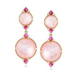 "Judith Ripka ""Allure"" Pink Mother-Of-Pearl Doublet and .35 ct. t.w. Diamond Drop Earrings in 18kt Yellow Gold, , default"