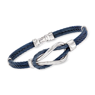 ALOR Men's Blue Stainless Steel Cable Knot Bracelet, , default