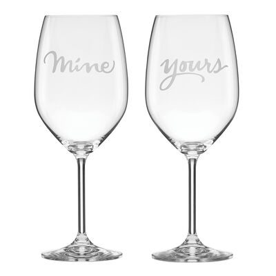 "Kate Spade New York ""Two of a Kind"" Set of 2 ""Mine"" and ""Yours"" Wine Glasses"