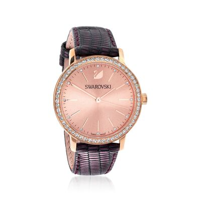 Swarovski Crystal Graceful Lady Women's Rose Goldtone Stainless Watch with Crystals and Purple Leather