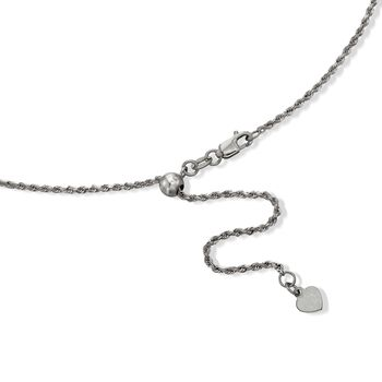 Italian 1.3mm Sterling Silver Adjustable Slider Rope Chain Necklace in Black, , default