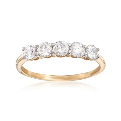 1.00 ct. t.w. Diamond Five-Stone Ring in 14kt Yellow Gold, , default