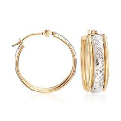 14kt Two-Tone Gold Diamond-Cut Center Hoop Earrings, , default