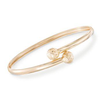 14kt Yellow Gold Diamond-Cut Bead Bypass Bangle Bracelet, , default