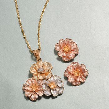 Italian 18kt Tri-Colored Gold Floral Pendant Necklace, , default