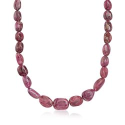 Graduated Free-Form Ruby Bead Necklace in Sterling Silver, , default