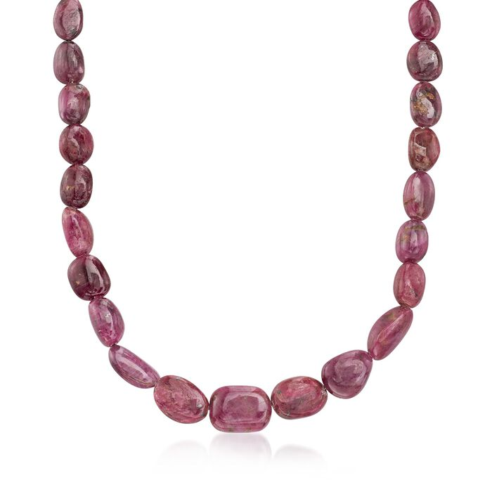 290 ct. t.w. Graduated Free-Form Ruby Bead Necklace With Sterling Silver, , default