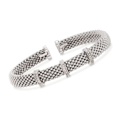 "Phillip Gavriel ""Popcorn"" Sterling Silver Woven Cuff Bracelet with Diamond Accents"