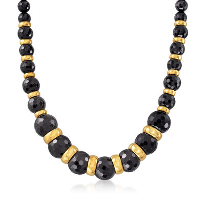 Italian Black Onyx Graduated Bead Necklace in 18kt Gold Over Sterling Silver, , default