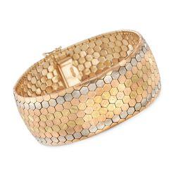 C. 1940 Vintage 18kt Tri-Colored Gold Wide Florentine-Finished Bracelet, , default