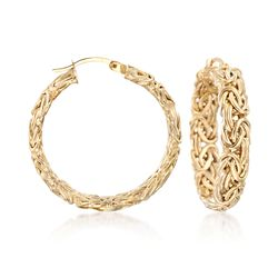 "18kt Yellow Gold Over Sterling Silver Medium Byzantine Hoop Earrings. 1 1/4"", , default"