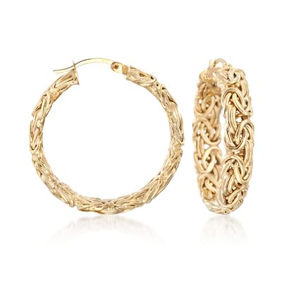 18kt Yellow Gold Over Sterling Silver Medium Byzantine Hoop Earrings, , default