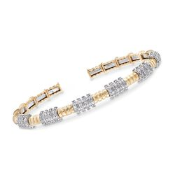 "1.00 ct. t.w. Diamond Station Cuff Bracelet in 14kt Two-Tone Gold. 7"", , default"