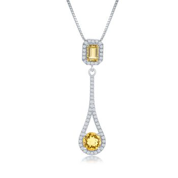 "1.30 ct. t.w. Citrine and .52 ct. t.w. White Topaz Pendant Necklace in Sterling Silver. 17.25"", , default"
