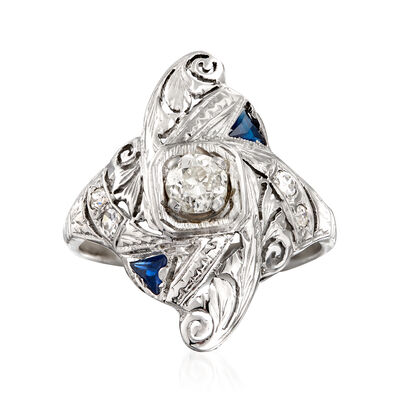 C. 1950 Vintage .40 ct. t.w. Diamond and .15 ct. t.w. Simulated Sapphire Filigree Ring in 14kt White Gold, , default
