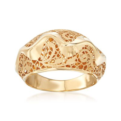 Italian 18kt Yellow Gold Floral Openwork Wave Ring