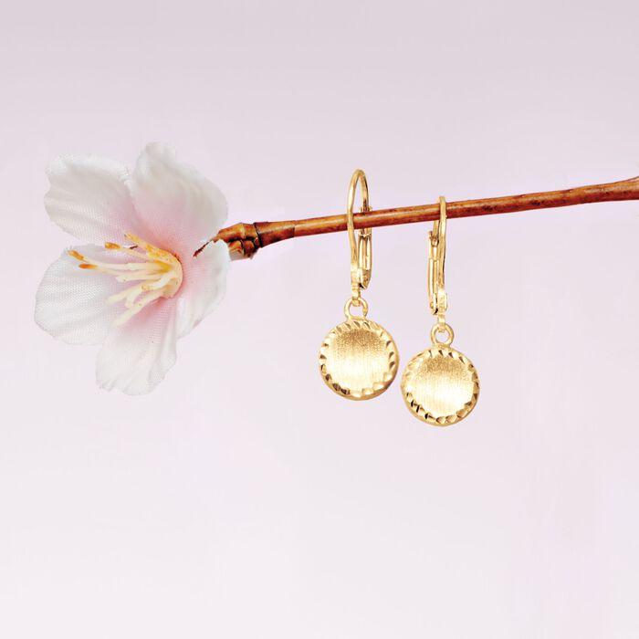 Italian 18kt Yellow Gold Circle Drop Earrings