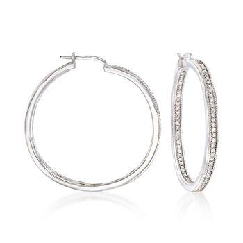 """.50 ct. t.w. Diamond Inside-Outside Hoop Earrings in Sterling Silver. 1 1/8"""", , default"""