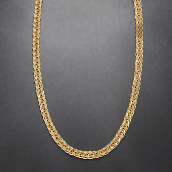 """14kt Yellow Gold Wheat-Link Necklace. 24"""""""