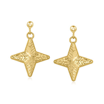Italian 14kt Yellow Gold Star Drop Earrings