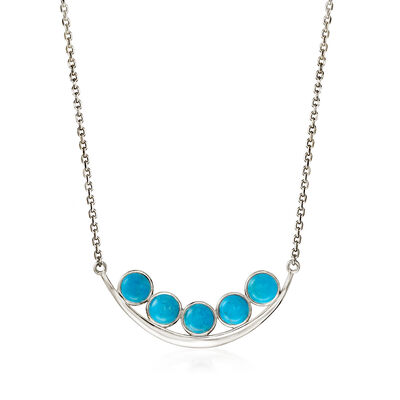 Turquoise Curved Bar Necklace in Sterling Silver