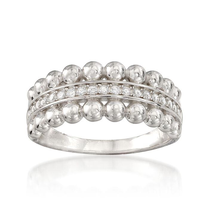 .10 ct. t.w. CZ Beaded Edge Ring in Sterling Silver, , default