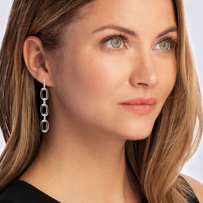 .33 ct. t.w. Diamond Link Drop Earrings in Sterling Silver and 14kt Yellow Gold