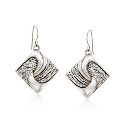 Sterling Silver Square Knot Drop Earrings, , default