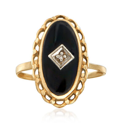 C. 1940 Vintage Black Onyx Ring with Diamond Accent in 10kt Yellow Gold, , default