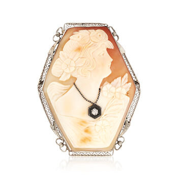 C. 1950 Vintage Pink Shell Cameo Pin Pendant with Diamond Accent, , default