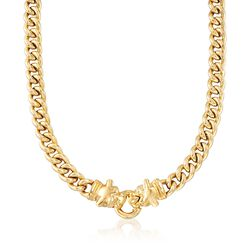 Italian 18kt Gold Over Sterling Double Panther Head Curb-Link Necklace, , default