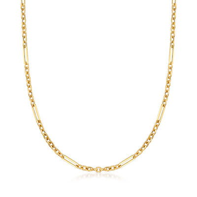 Italian 18kt Yellow Gold Alternating-Link Necklace, , default