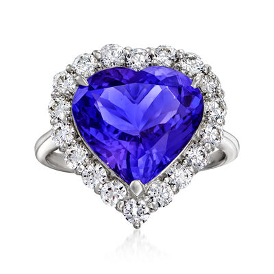 C. 1980 Vintage 6.11 Carat Tanzanite and .92 ct. t.w. Diamond Heart Ring in Platinum