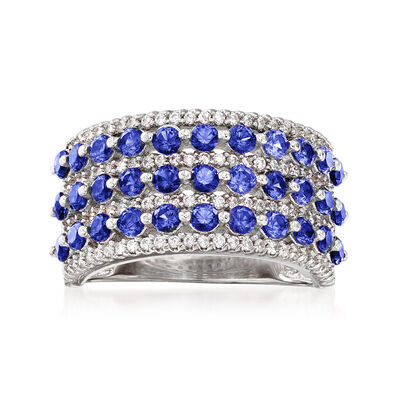 2.90 ct. t.w. Simulated Sapphire and .54 ct. t.w. CZ Multi-Row Ring in Sterling Silver