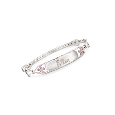 Child's Sterling Silver Name ID Bracelet with Enamel Flowers