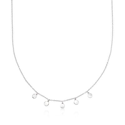 Sterling Silver Disc Charm Necklace, , default
