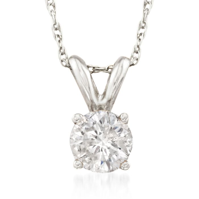 .50 Carat Diamond Solitaire Necklace in 14kt White Gold, , default