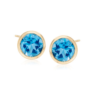 2.10 ct. t.w. Bezel-Set Blue Topaz Stud Earrings in 14kt Yellow Gold, , default