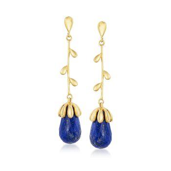 Blue Lapis Floral Drop Earrings in 18kt Gold Over Sterling , , default
