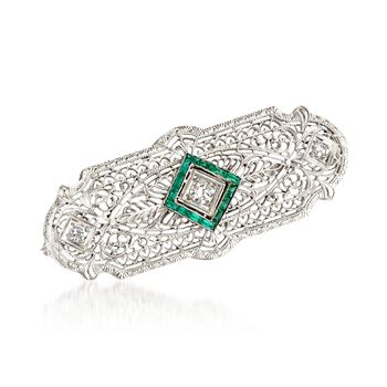 "C. 1950 Vintage .20 ct. t.w. Synthetic Emerald and .25 ct. t.w. Diamond Pin Pendant Necklace in 14kt White Gold. 22"", , default"