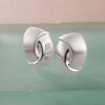 Sterling Silver Brushed and Polished Swirl Clip-On Earrings, , default