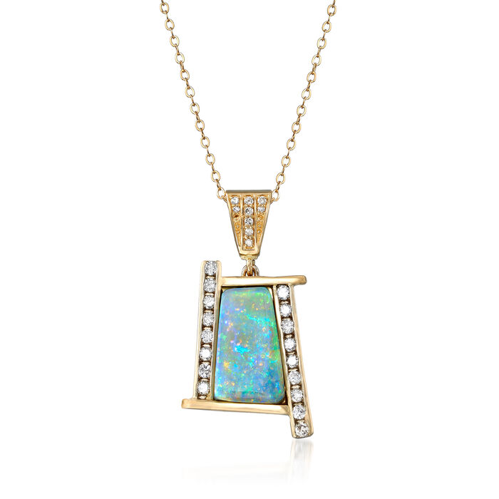 """C. 1980 Vintage 15x8mm Opal and .60 ct. t.w. Diamond Pendant Necklace in 14kt Yellow Gold. 18"""", , default"""