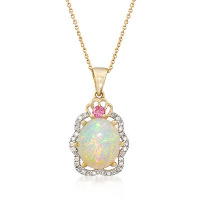 12x10mm Opal Cabochon and .24 ct. t.w. Multi-Stone Pendant Necklace in 14kt Yellow Gold, , default
