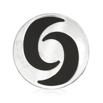 "C. 2000 Vintage Bulgari ""Optical Illusion"" Black Onyx Spinning Ring in 18kt White Gold"