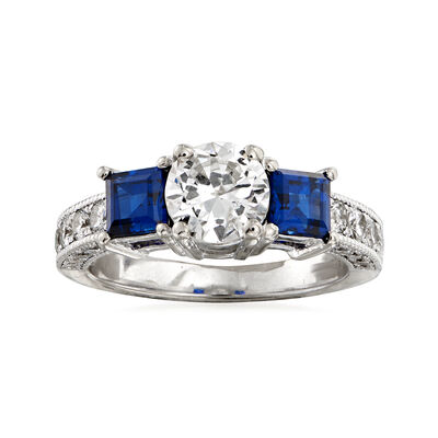 C. 1990 Vintage 1.51 ct. t.w. Diamond and .90 ct. t.w. Sapphire Ring in 14kt White Gold, , default