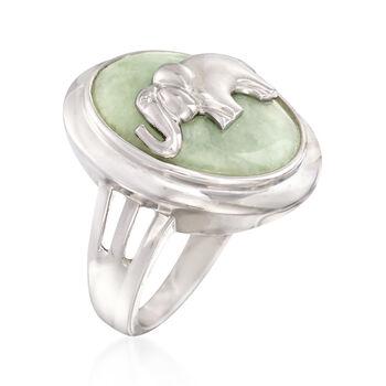 Green Jade Elephant Ring in Sterling Silver, , default